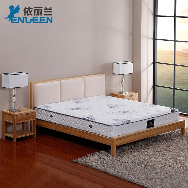 依丽兰现代欧式简约实木床1.8米双人椰棕独立袋装乳胶