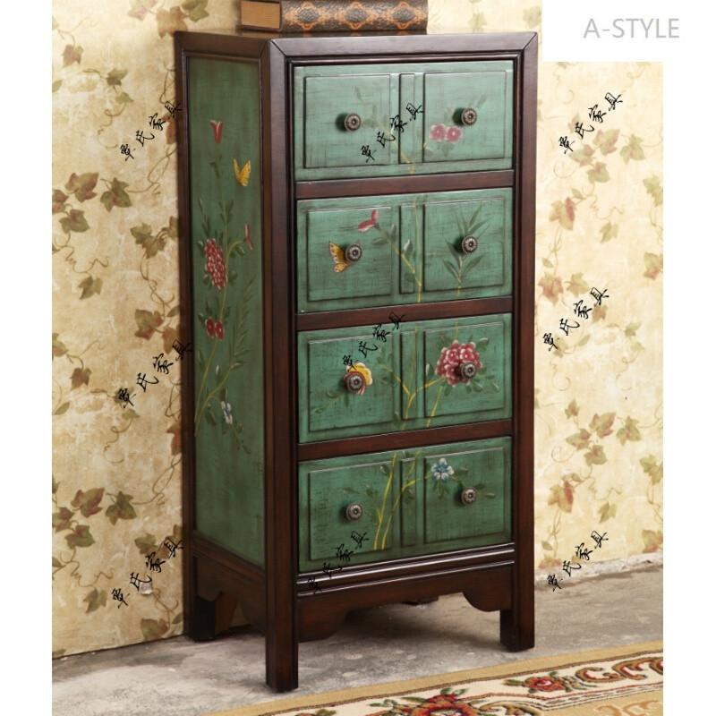 a-style美式乡村卧室斗柜欧式玄关田园现代中式家具新古典古彩绘做旧