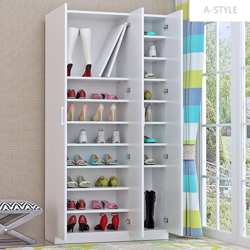 a-style特价简约现代实木鞋架多层大容量组装鞋柜门厅