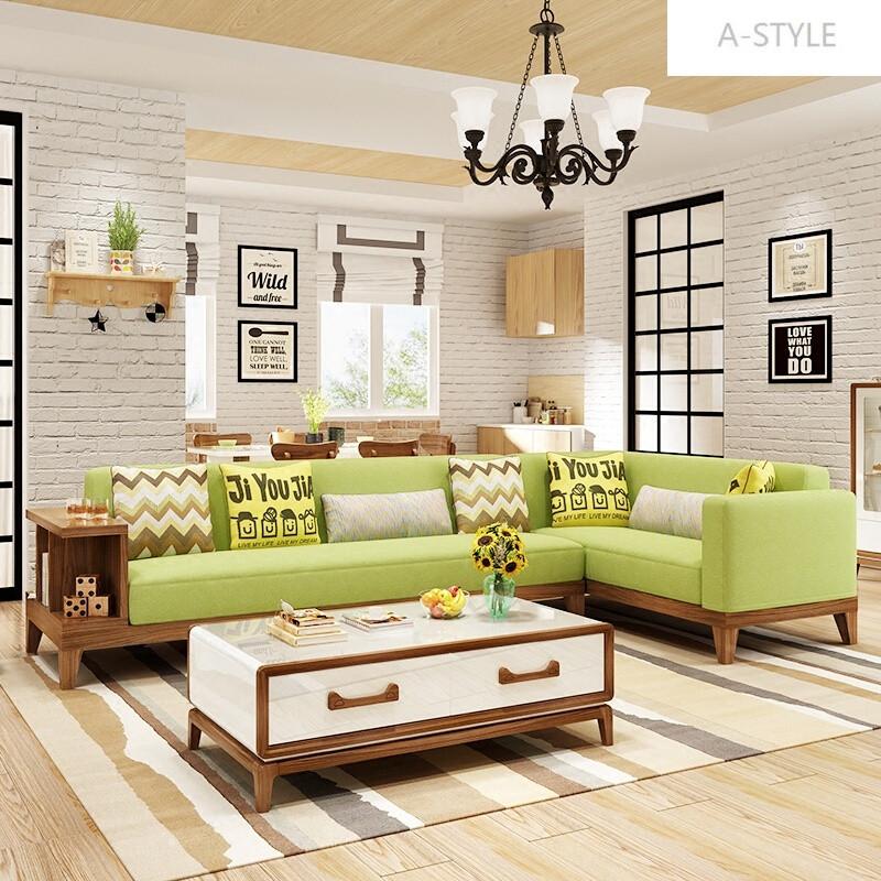 可拆洗小户型客厅组合转角沙发创意日式布艺沙发 格调北欧直位 贵妃