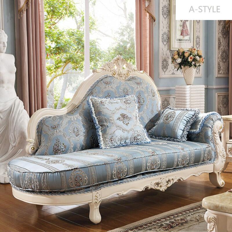 a-style实木欧式布艺沙发可拆洗法式田园贵妃大小户型客厅沙发组合单图片