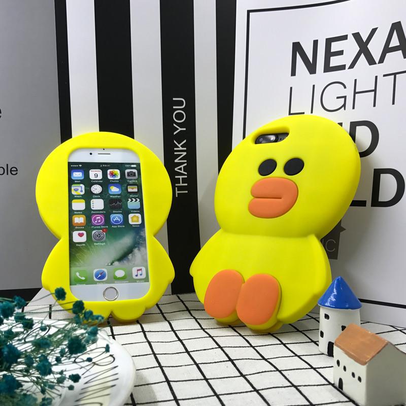 手机壳布朗熊苹果6软胶iphone6s女款7plus防摔硅胶卡通可爱8挂绳5