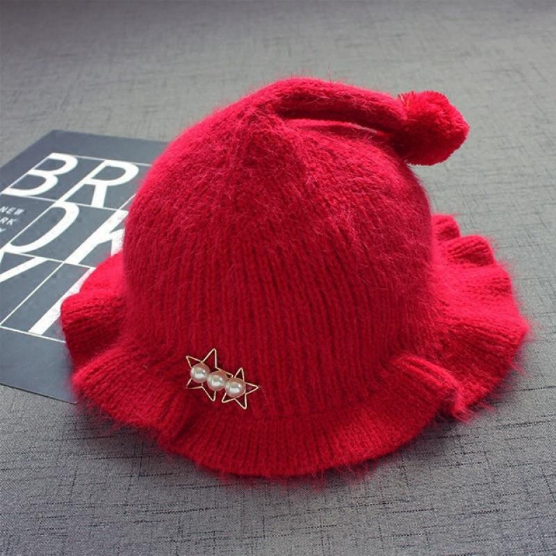 2-5岁宝宝儿童毛线帽韩版珍珠球球加厚帽子女宝宝荷叶