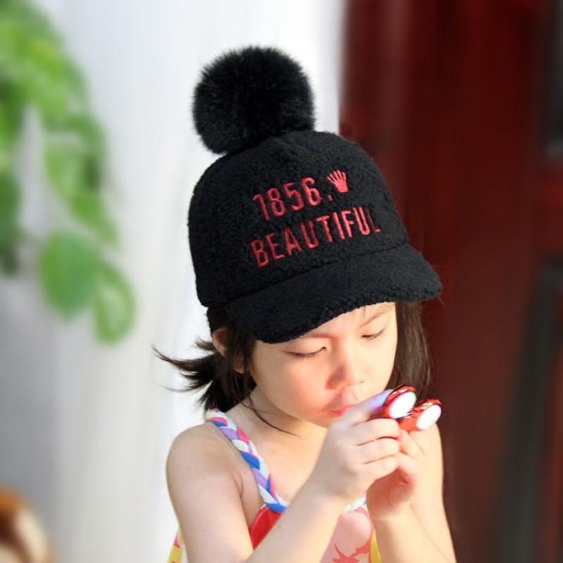儿童帽子秋冬女韩国兔毛球鸭舌帽男羊羔绒棒球帽宝宝保暖毛呢帽潮