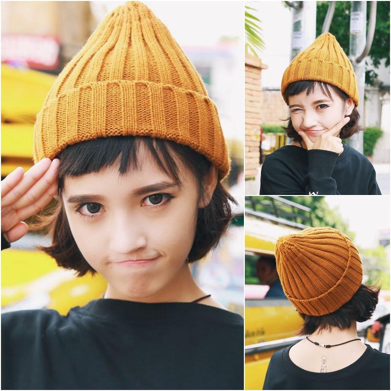 帽子女冬韩国尖尖包头帽百搭针织毛线帽学生保暖可爱纯色简约男女