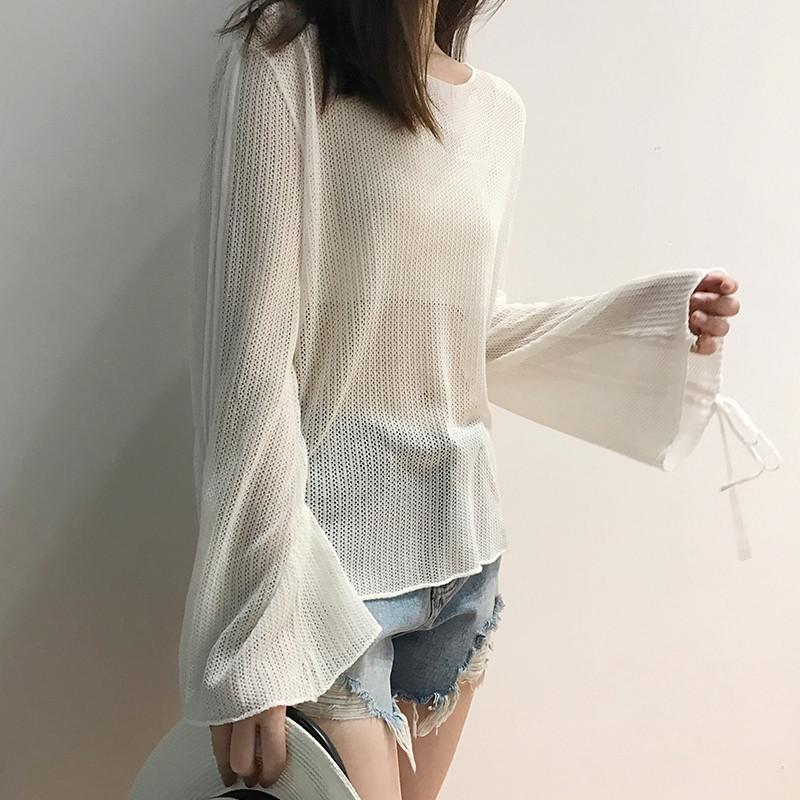 薄款套头冰丝针织衫女夏季新款宽松显瘦镂空防晒上衣喇叭袖罩衫