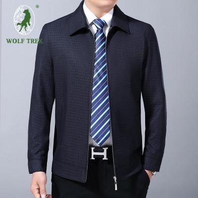 【七匹狼国际公司授权WOLF TREK】男士中年夹克男装商务休闲格子上衣翻领秋装爸爸装外套夹克衫YGF57-1605