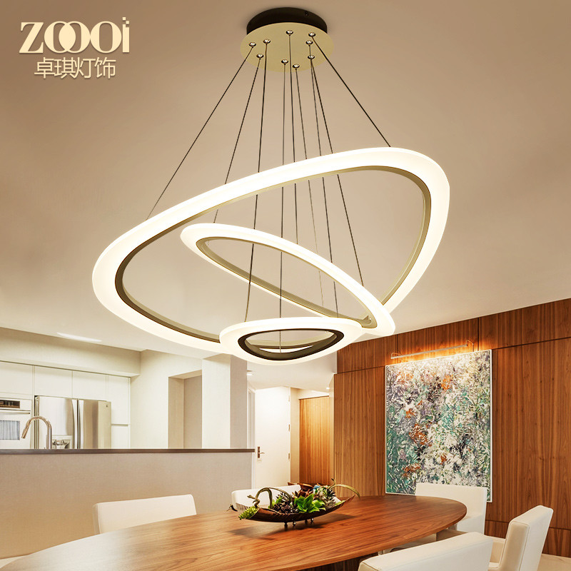 灯屋 北欧创意大气圆环形吊灯led客厅卧室餐厅灯后现代简约亚克力灯具图片