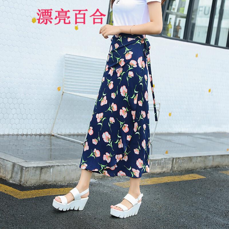 漂亮百合2017女装夏装新款一片式半身裙碎花裙女7777