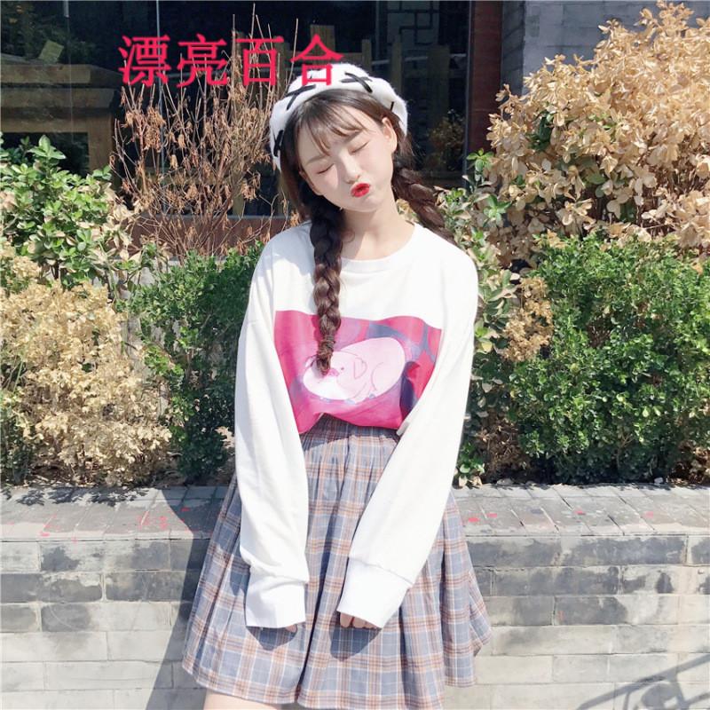 漂亮百合2017女装秋冬新款甜美可爱网红猪贴布宽松中长款卫衣长袖t恤