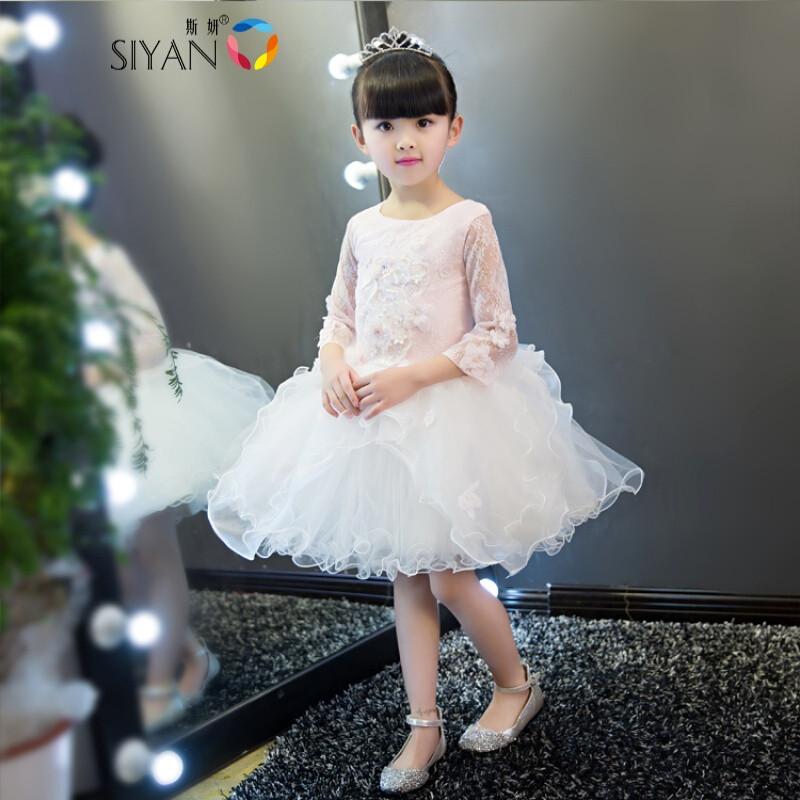 斯妍儿童婚纱白雪公主裙大童女童宝宝生日晚礼服花童钢琴演出服夏季女