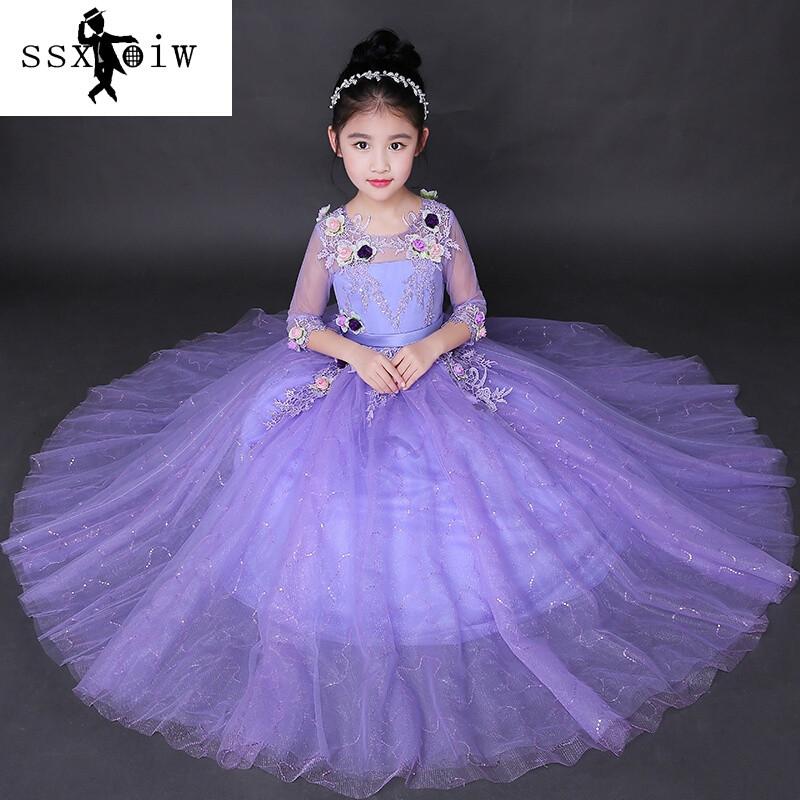 ssxoiw兒童生日晚禮服主持人女童公主裙演出服長裙大童花童婚紗裙蓬蓬