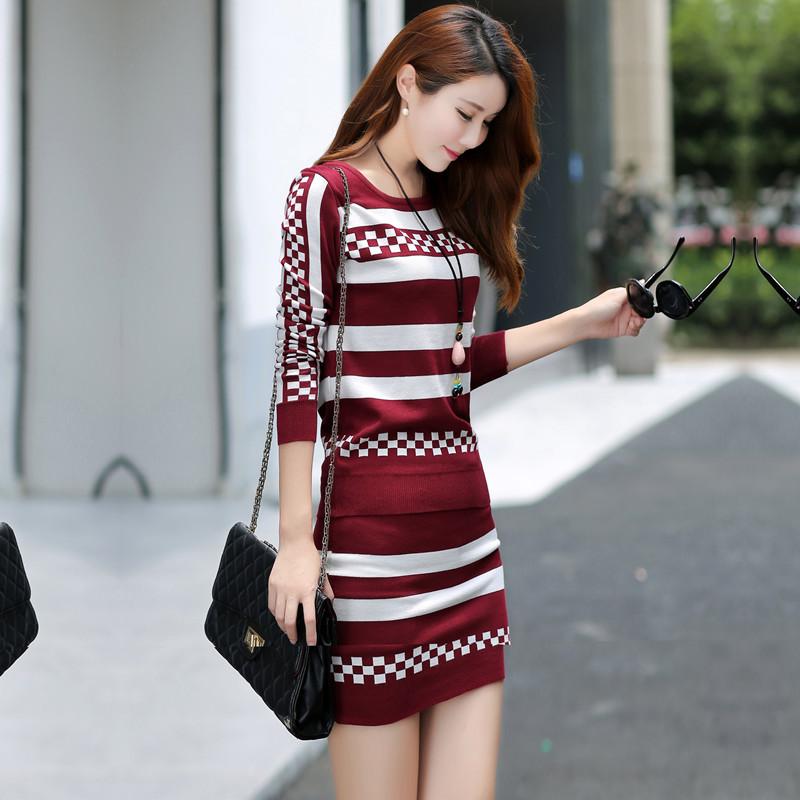 新款秋季套装女秋装时尚潮2017新款气质女装韩版针织毛衣包臀裙两件套