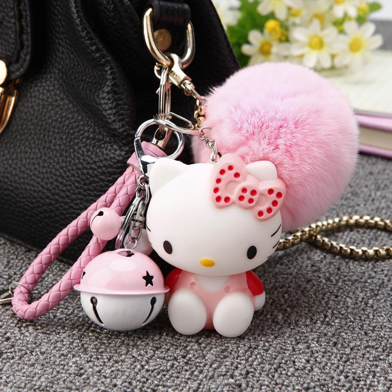 902新款kitty汽车钥匙扣女生钥匙链韩国可爱创意毛绒包挂件卡通公仔饰