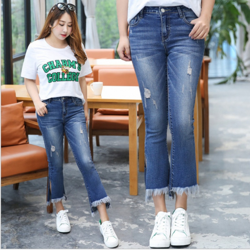 902新款胖mm女装显瘦舒适简约夏装新款牛仔七分裤子