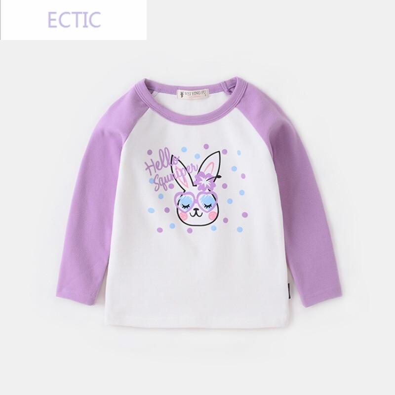 ectic女童卡通印花t恤2017秋新款童装宝宝可爱打底衫儿童长袖百搭上衣