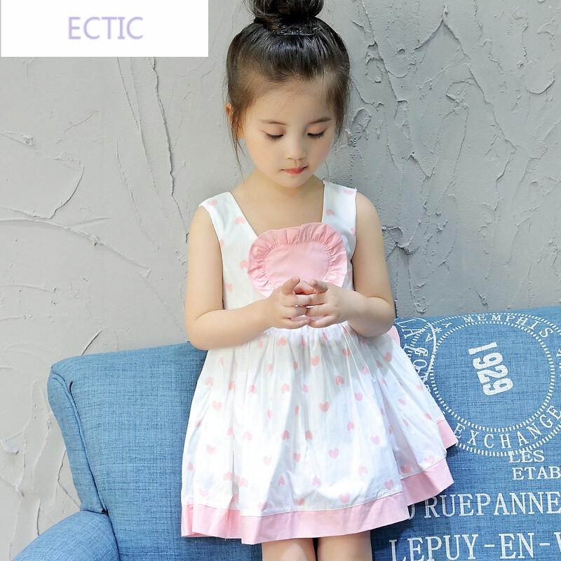 ectic女童夏装连衣裙可爱公主吊带背心裙2017夏季宝宝1-3-5岁纯棉裙子