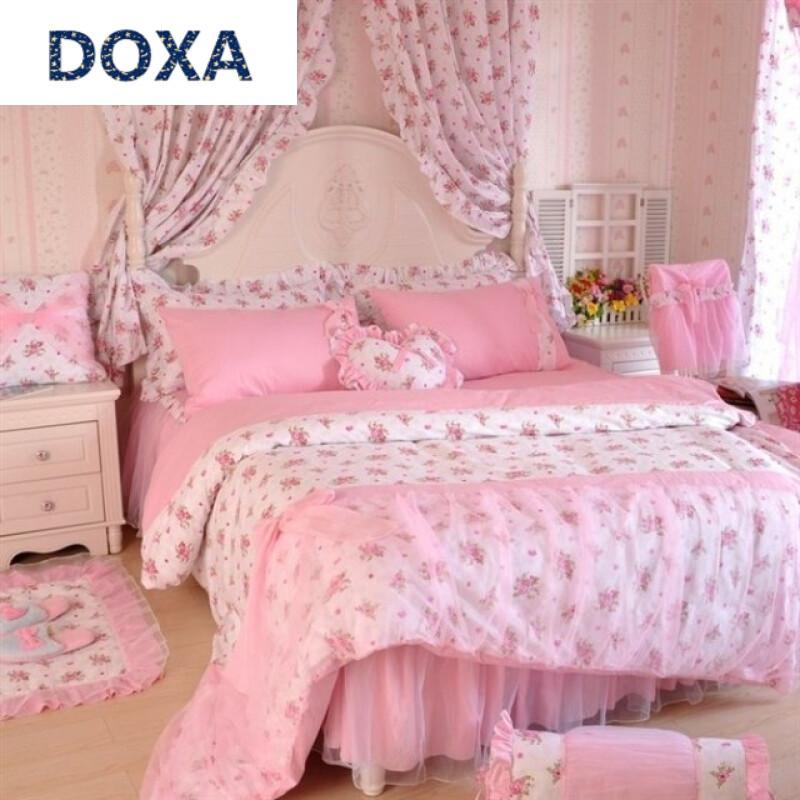 doxa新款韩版全棉可爱公主风四件套粉红蕾丝花边床上用品纯棉床裙1.