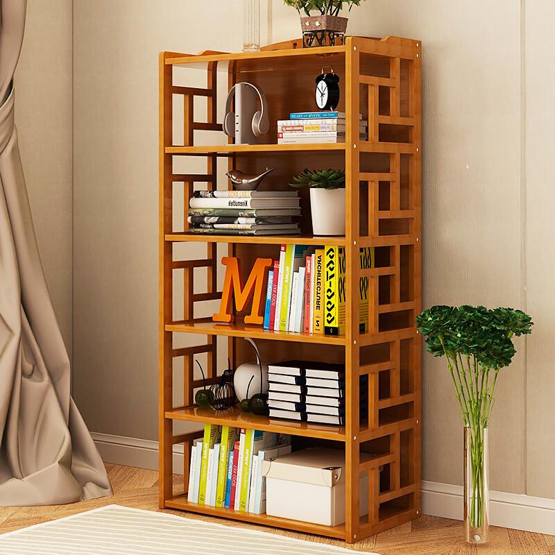 doxa简易书架落地竹子实木置物架子儿童学生宿舍客厅简约现代书架书柜图片