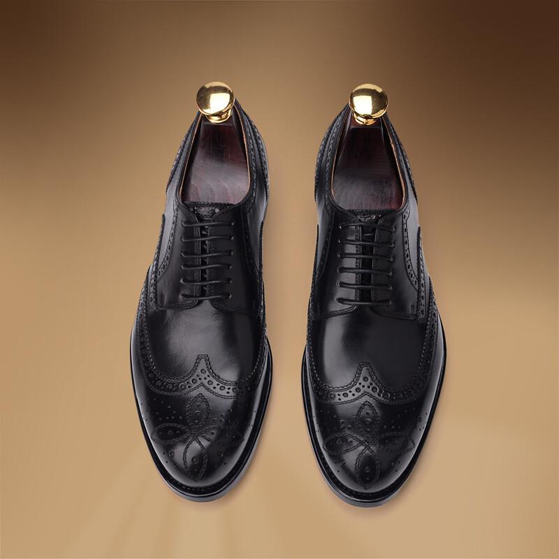 唯帝歌品牌皮鞋优雅男士系带商务休闲鞋时尚布洛克雕花高端定制鞋固特