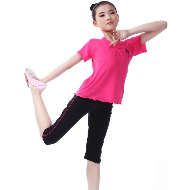 特价特价夏薄款全棉分体儿童舞蹈服练功服中国舞拉丁舞芭蕾舞短袖套装