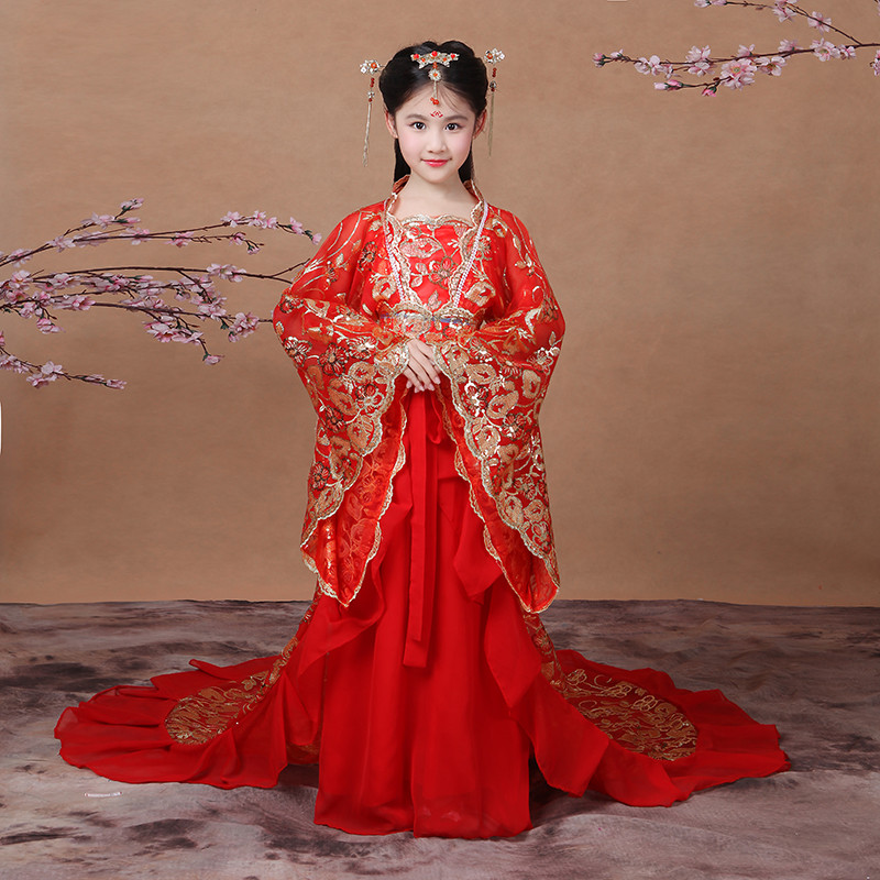 特价儿童贵妃拖尾古装女童汉服唐朝仙女公主裙写真舞台古筝演出服装冬图片