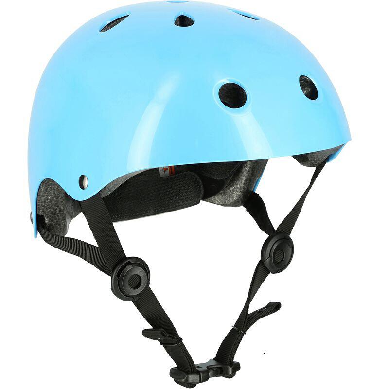 兒童輪滑頭盔旱冰溜冰運動可調節安全帽自行車頭盔天藍s-9