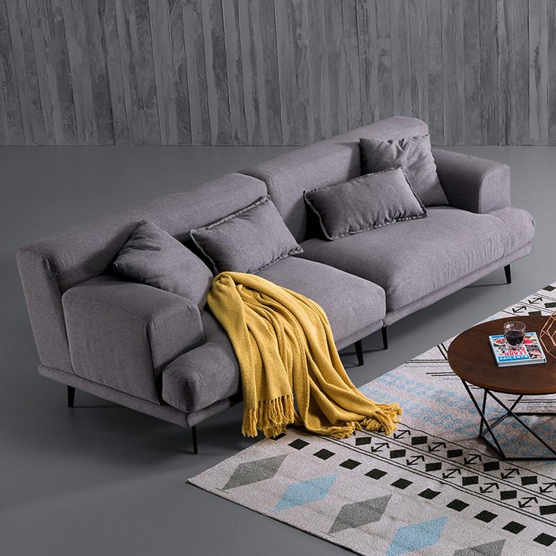 工匠精神 意式极简羽绒布艺沙发 北欧风格乳胶布艺沙发客厅组合家具图片