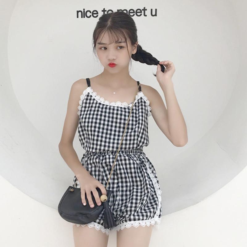 新款夏季韩版格子套装边件套睡衣卖场学生蕾丝v格子短裤家居服两吊带女气质超市装饰图片