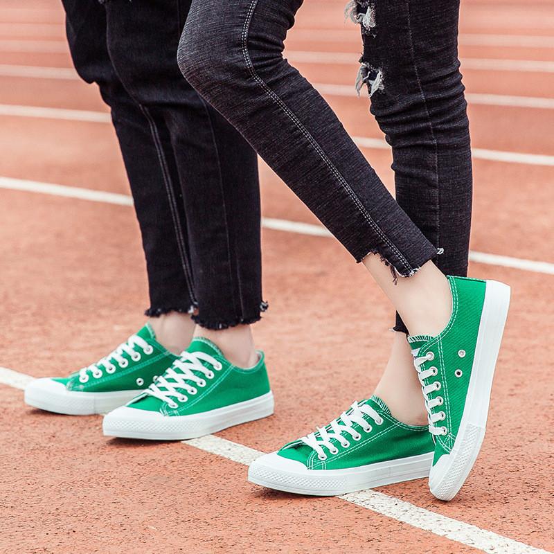 bw9新款韩版经典低帮系带男女情侣平底板球鞋学院风纯色帆布鞋学生鞋