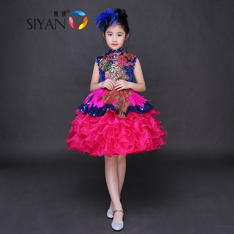 斯妍新款儿童主持人晚礼服模特走秀演出服女孩表演服女童公主蓬蓬裙长图片