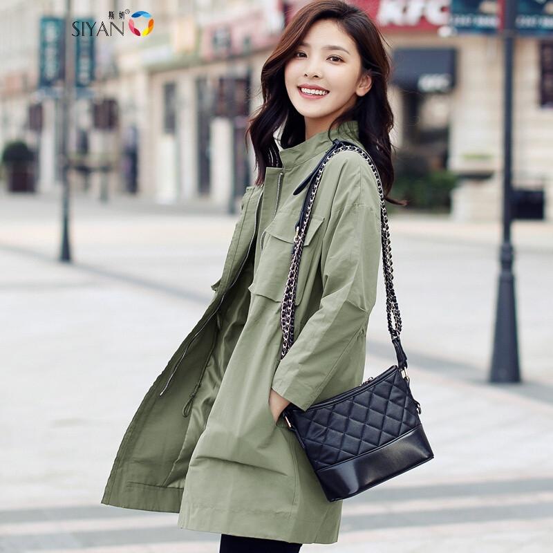 斯妍秋季女风衣韩版薄款工装外套bf风中长款宽