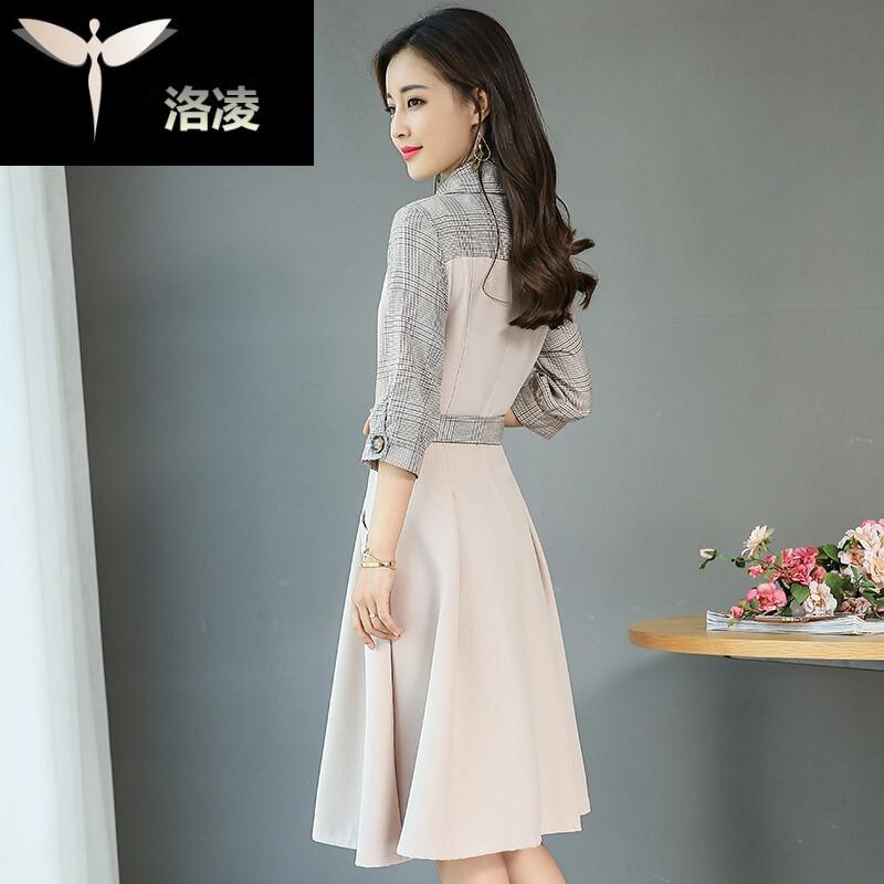 新款秋季七分袖格子拼接连衣裙女风韩版淑女系带裙子潮图片色