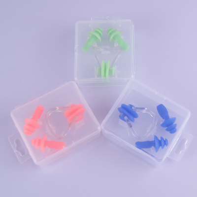 泡温泉硅胶耳塞加鼻夹游泳耳塞鼻夹送包装盒儿童通用耳塞鼻夹