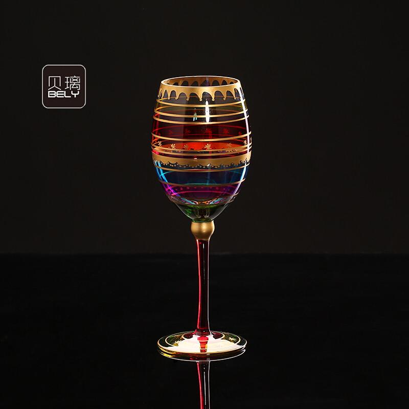 创意酒杯彩色手绘红酒杯玻璃杯子葡萄酒杯个性大号高脚杯水晶酒具a