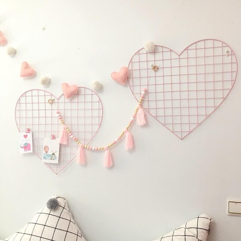 创意心型网格照片墙少女心卧室铁艺网格照片墙韩系公主房间装饰c