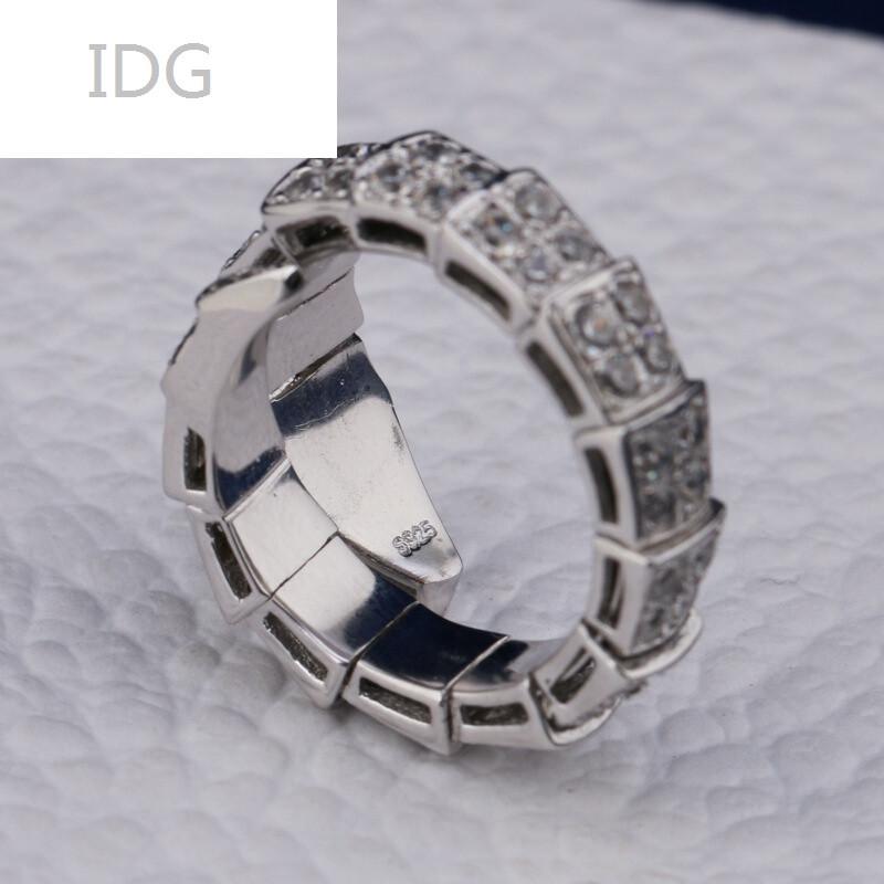idgs925银蛇形戒指镶钻单圈蛇戒开口指环银指环女单圈