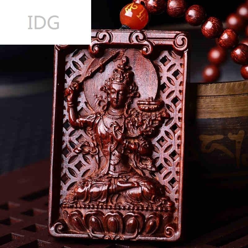 idg-小叶紫檀木文殊菩萨吊坠生肖属兔守护神本命佛项链挂件