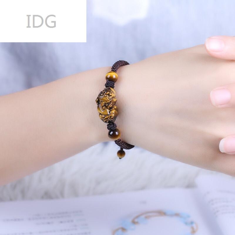 idg129129黄虎眼石貔貅手链手工编织绳男女士咖啡色手