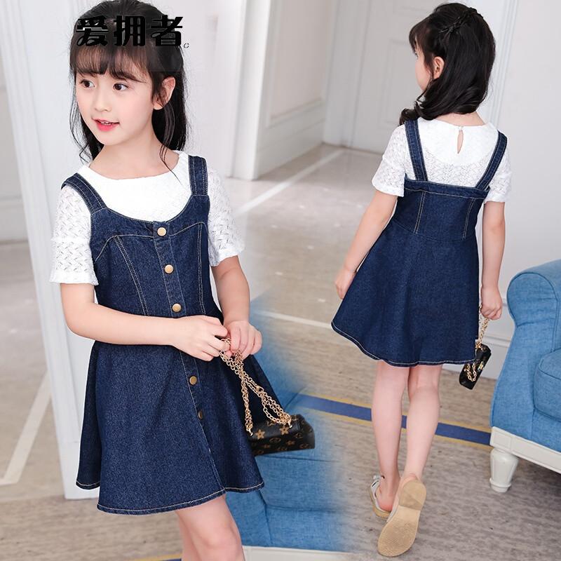 夏装套装儿童小女孩3-5-9岁7背带牛仔裙子套裙4夏季6两件套8图片色