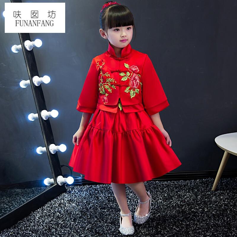 呋囡坊女童红色中式礼服裙儿童生日公主裙春秋