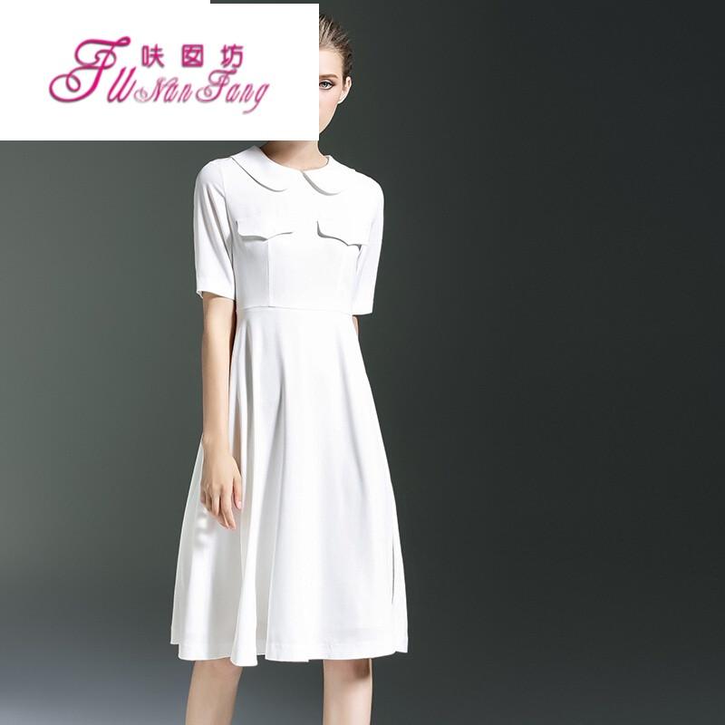 连衣裙白色娃娃领