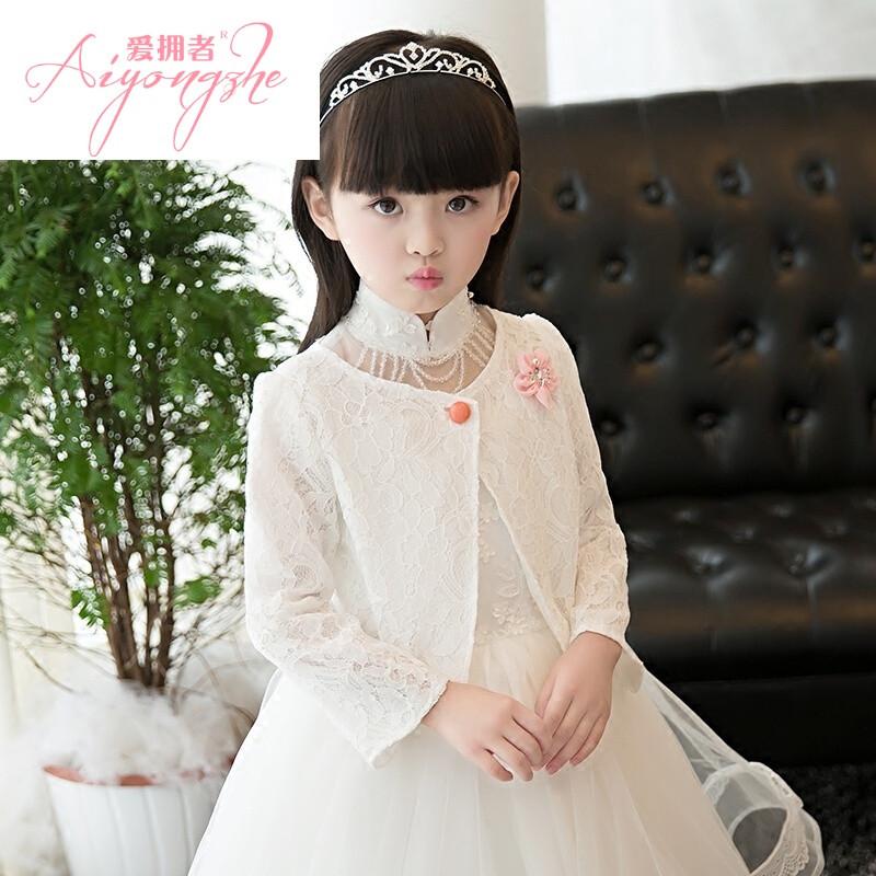 女童新款礼服坎肩儿童披肩花童礼服披肩外搭短款小外套开衫秋冬白色