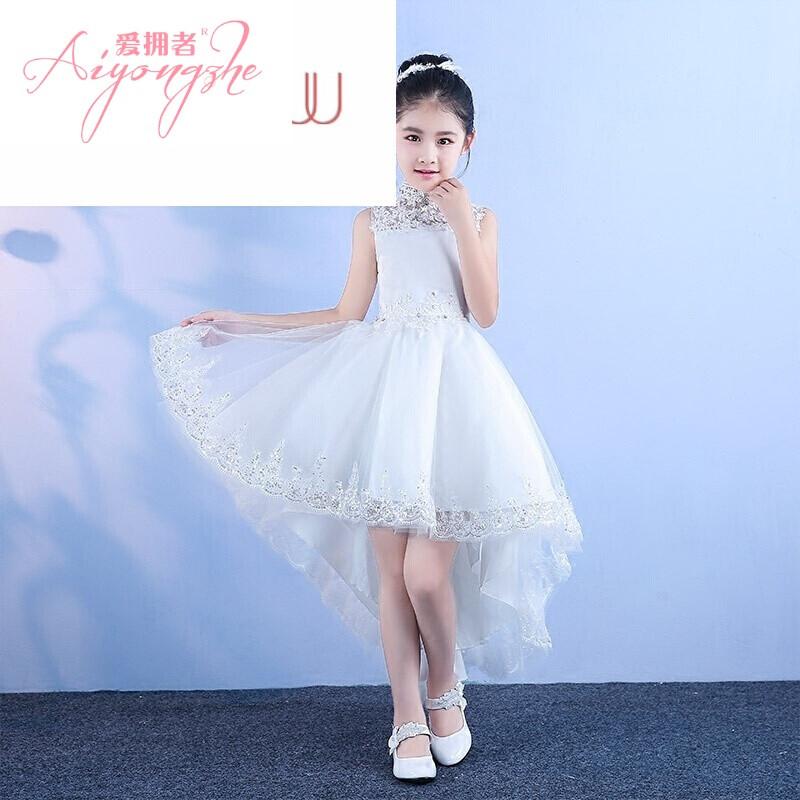花童婚纱裙女童拖尾公主裙白色生日宴会晚礼服连衣裙无袖白色