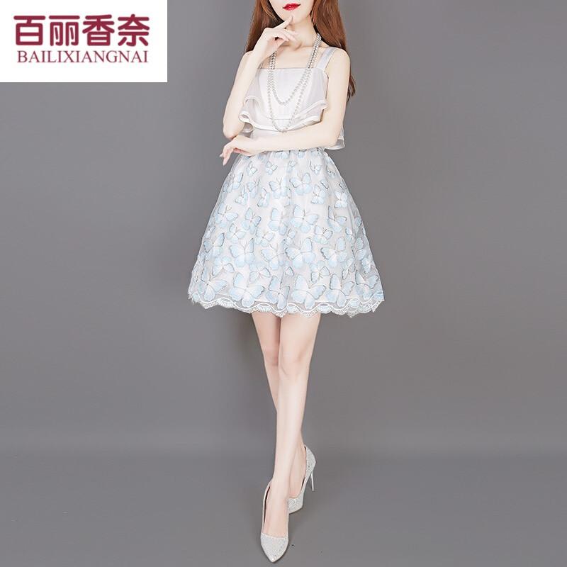 百丽香奈甜美可爱白色公主裙吊带短裙一字肩雪纺连衣裙欧根纱蓬蓬裙夏