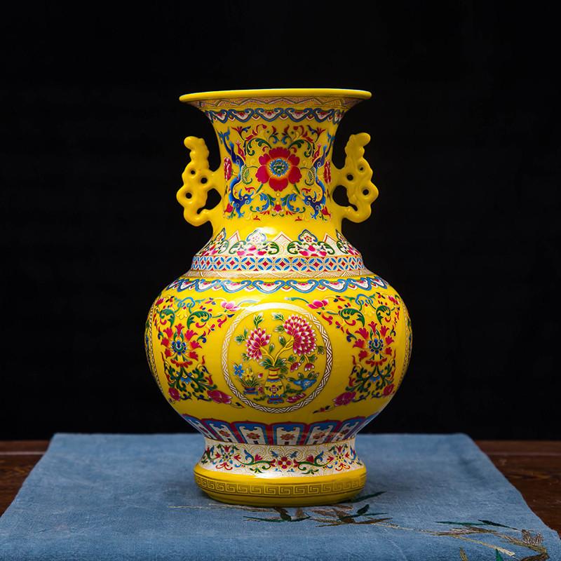 仿古明清珐琅彩双耳陶瓷花瓶手工制作创意台面卧室家居摆件 石榴 红色