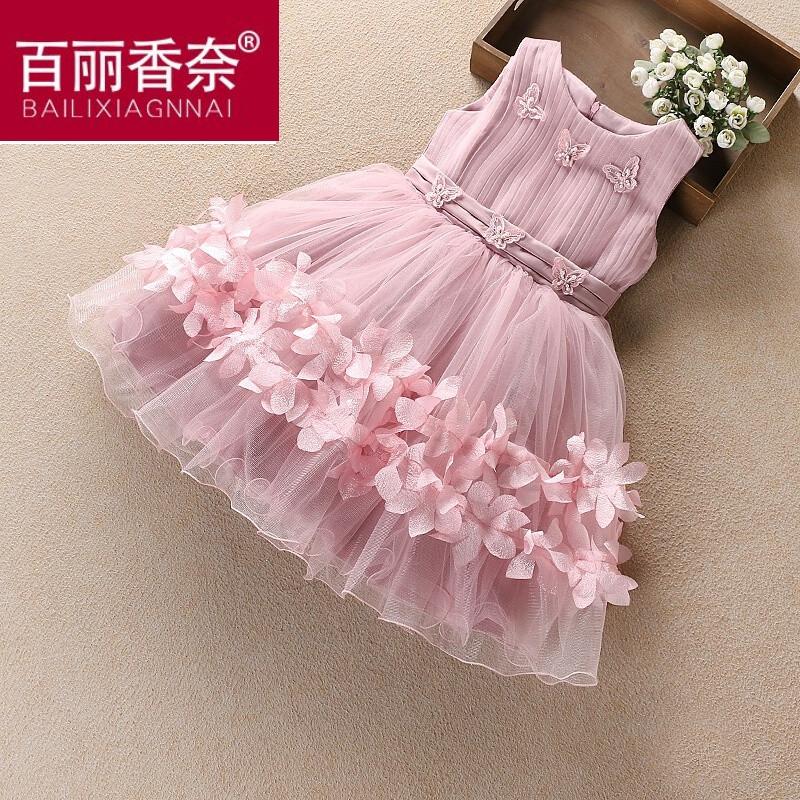 夏季连衣裙公主裙韩国童装儿童礼服裙舞蹈蓬蓬背心裙蛋糕裙子藕色蝴蝶