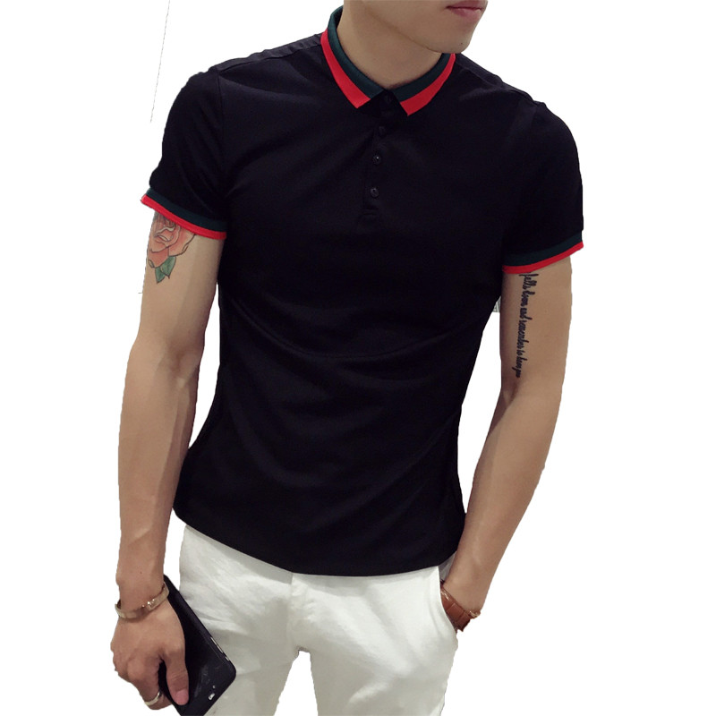 快手红人猴哥白鹤同款男士修身短袖polo衫社会小伙撞色半袖t恤夏