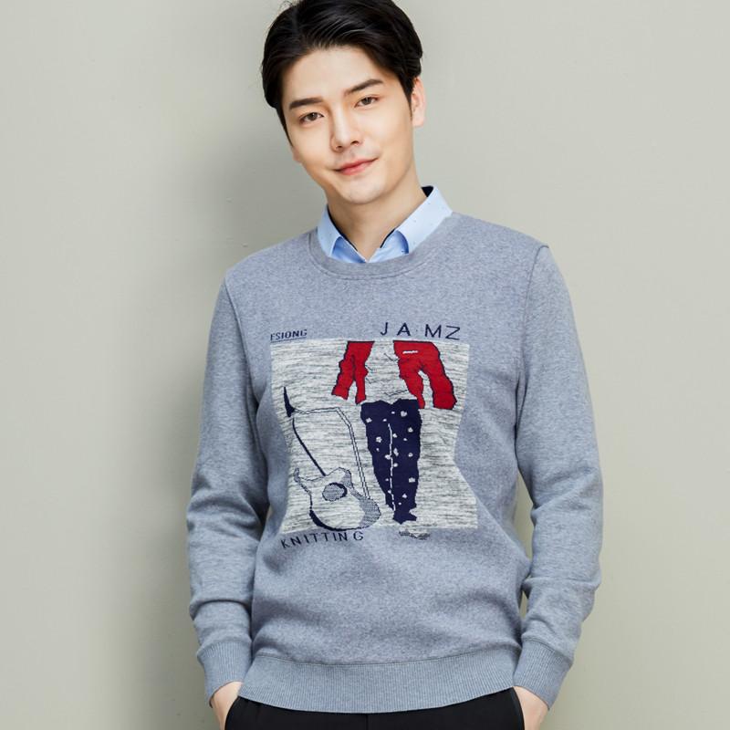冬季加绒加厚保暖衬衫男士长袖假两件针织衫套头毛衣商务休闲衬衣