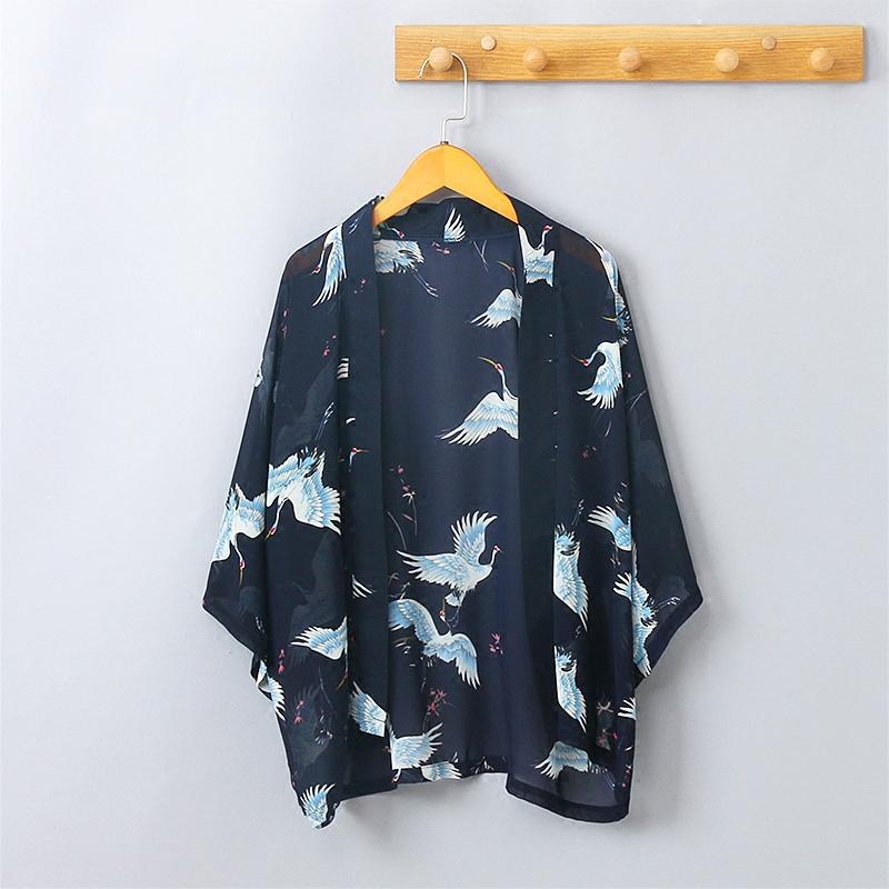 麦瑞思日系文艺复古仙鹤提花和风雪纺开衫防晒衣女宽松薄外套空调披衫